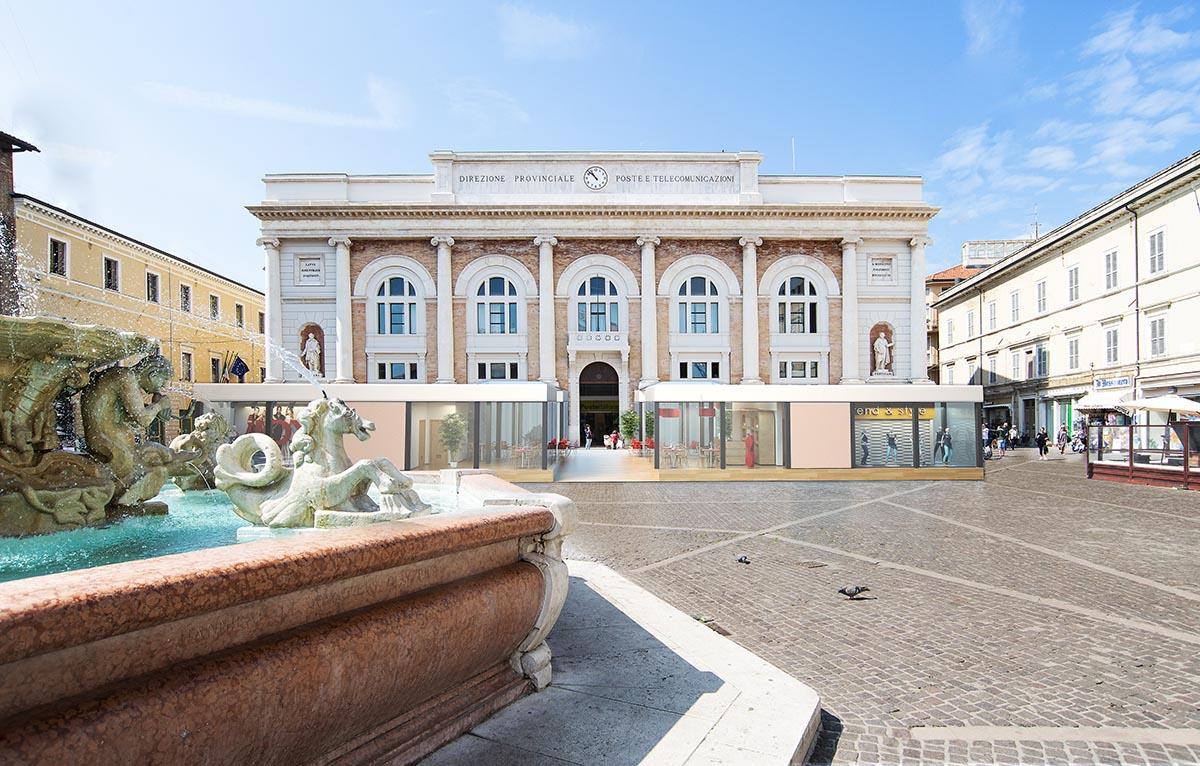 Struttura provvisoria piazza Pesaro | Compositing 3d su foto reale